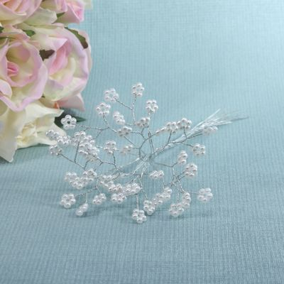 White Pearl Spray with Wire Stems