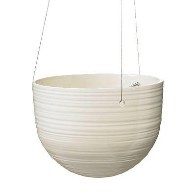 Bergamo Ceramic Hanging Pot Shiny Cream (18cm)