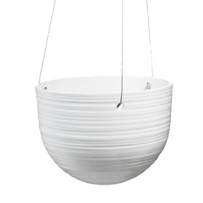Bergamo Ceramic Hanging Pot Shiny White (18cm)