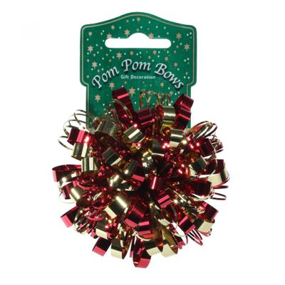 Metallic Red and Gold Pom Pom Bow (8cm)