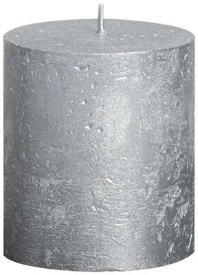 Silver Bolsius Rustic Metallic Candle (80mmx68mm)  (BT 30 hours)