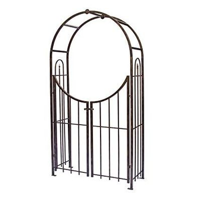 Black Arched Top Garden Arch with Gate