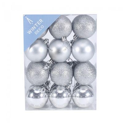 6cm Silver Baubles