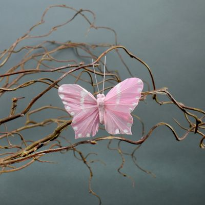 Pink Butterflies with Clips 7cm (x6)