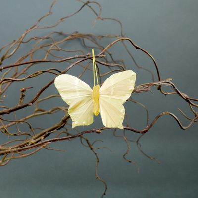 Yellow Butterflies with Clips 7cm (x6)