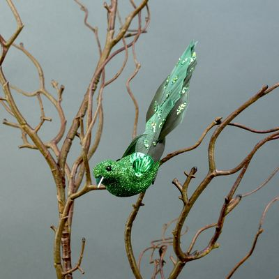 2 Green Glittered Birds with Clip (15.5cm)