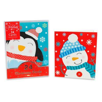 Mini Christmas Cards Snowman & Penguin (x24)