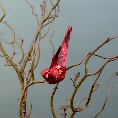 2 Red Glittered Birds with Clip (15.5cm)