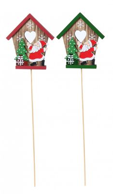Wooden Santa and House Pick