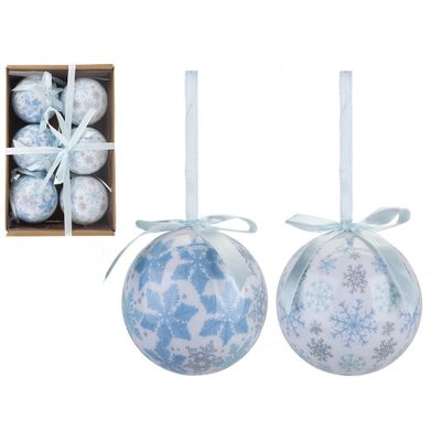Set Of 6 75Mm Polyfoam Baubles In Craft W/Box Snowflake