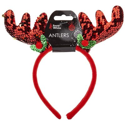 Red Sequin Antlers On Hanging  Card