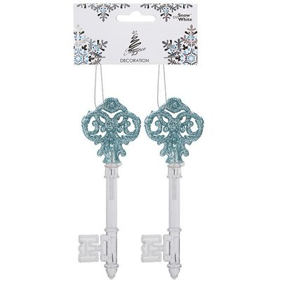Hanging Acrylic Set Of 2 Keys  Glitter Decoration Ice Blue