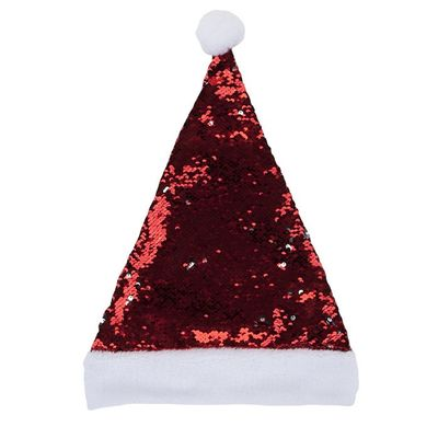 Luxury Sequinned Santa Hat W/  Hang Tag And J-Hook