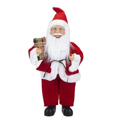 38Cm Standing Santa Decoration With Hang Tag