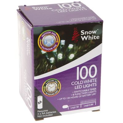 100 Led Outdoor B/Op Timer     Lights 8 Function Cold White