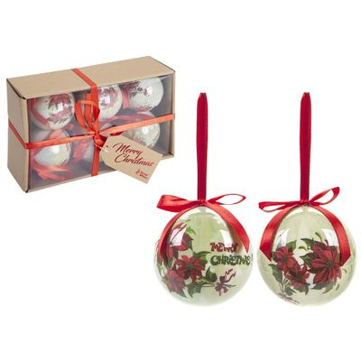 Set Of 6 75Mm Polyfoam Baubles In Craft W/Box Poinsettia Des.