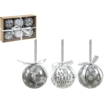 Set Of 6 75Mm Polyfoam Baubles Craft W/Box Delicate Grey Des.