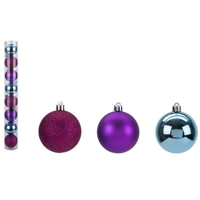 Set Of 8 5Cm Baubles In Pvc    Tube And Pdq - Brights