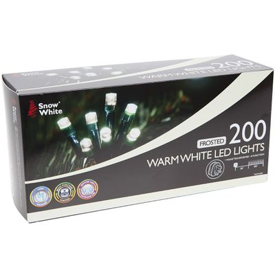 200 Warm White Frosted Led     Multi Function Xmas Lights