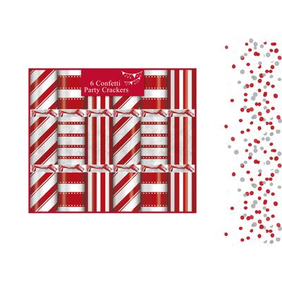 6 Candy Stripe Confetti Crackers