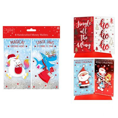 4 Christmas Money Wallets (Assorted Designs)