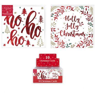10 Christmas Cards Modern Script (Assorted Designs)