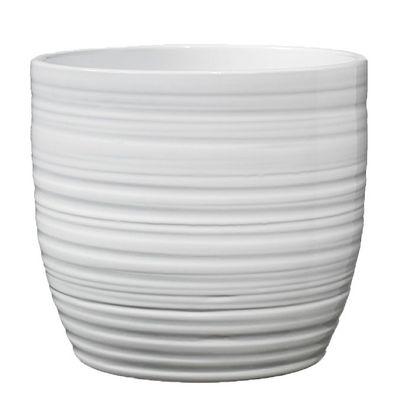 Bergamo Christmas Ceramic Pot - Shiny White 14cm