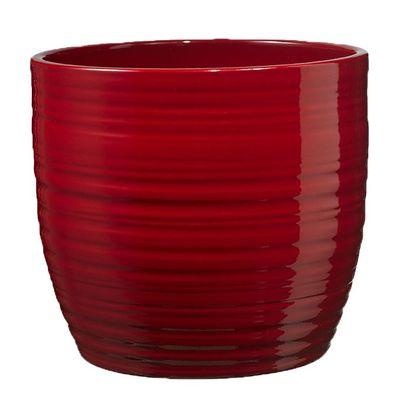 Bergamo Christmas Ceramic Pot - Shiny Bordeaux 14cm