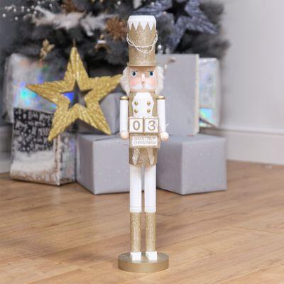 Gold Nutcracker Figure with Perpetual Calendar