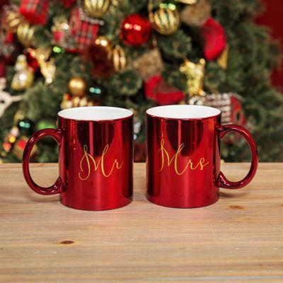 Mr & Mrs Red & Gold Mug Set