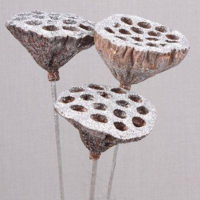 Medium Lotus Heads Silver Glitter on Stems (x5)