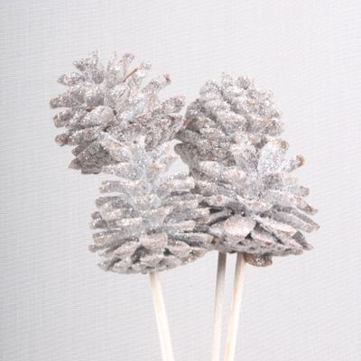 5-7cm White Glitter Cones on Stems (x5)