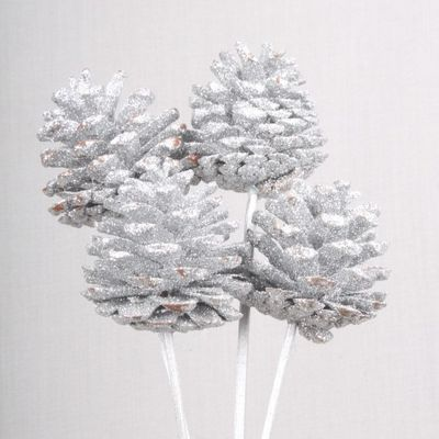 5-7cm Silver Glitter Cones on Stems (x5)