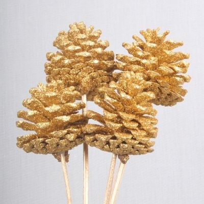 5-7cm Gold Glitter Cones on Stems (x5)
