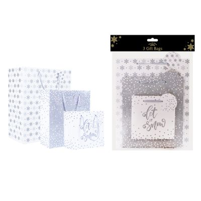 Silver Christmas Gift Bags (Pack of 3)