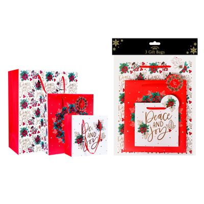 Traditional Christmas Gift Bags (Pack of 3)