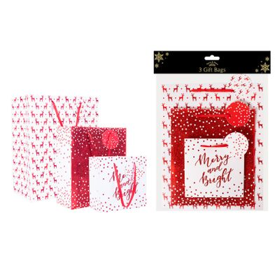 Red Christmas Gift Bags (Pack of 3)