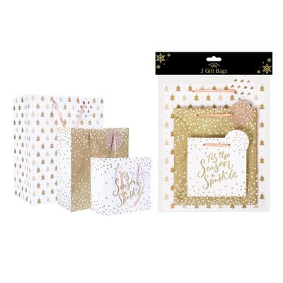 Gold Christmas Gift Bags (Pack of 3)