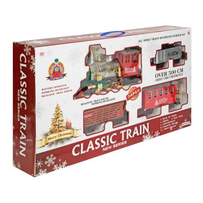 Merry Christmas Light Up Steam Engine Train Set - Large Oval