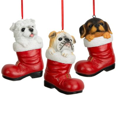 Assorted Dogs In Santa Boot Tree Ornament (3 Designs)