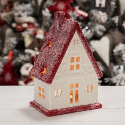 White and Red House Tealight Holder (19.5cm)
