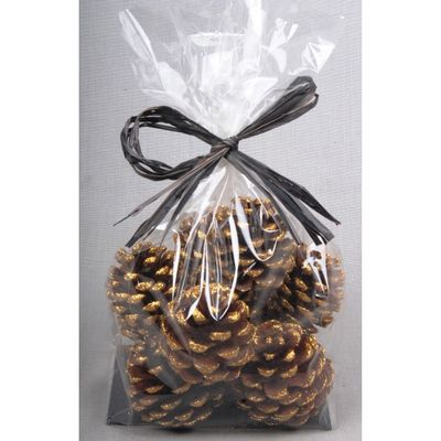 5-7cm Pine Cones with Gold Glitter Bag (x9pcs)