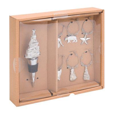 Silver Xmas Tree Bottle Stopper & Wine Glass Charms