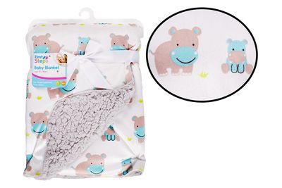Mink Sherpa Blanket Hippo Blue/Grey