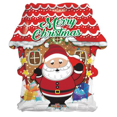 Merry Christmas Santa and House Balloon (18 inch)
