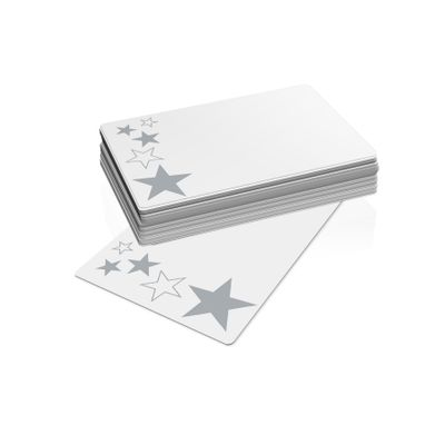 Xmas - Silver Stars (10 Cards 10 Envelopes)