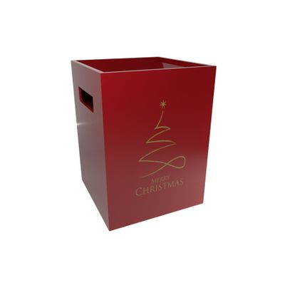 Pearlised Red Flower Box-Contemporary Christmas (x10)