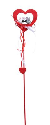 Heart open  wooden  Pick with mice red 50cm Stem 10pk