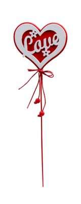 Heart wooden pick with LOVE red/white 20cm pk 10