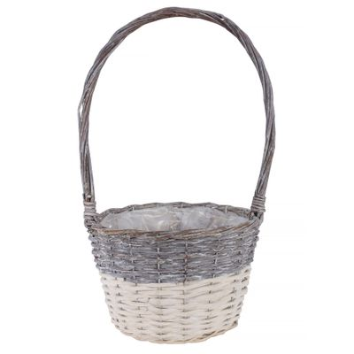 25cm Two Tone White Wash Round Basket w/Handle